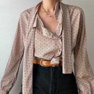 Vintage Secretary Tie Blouse Button Up